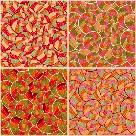 Abstract Doodle Geometric Seamless Pattern Set with Swirl Elements. Vector Illustration.