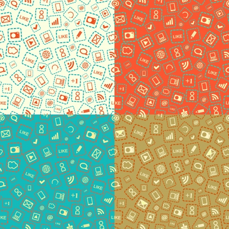 Seamless Pattern Set with Media Gadget Sign. Vector Background Stock Vector - 20059848