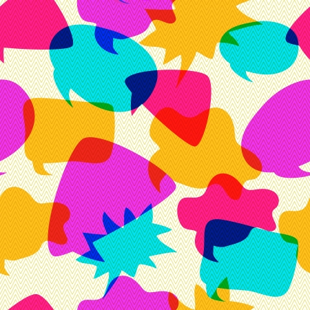 intersect: Different Bubbles Chat Icons Intersect in Seamless Pattern .Vintage Vector Background