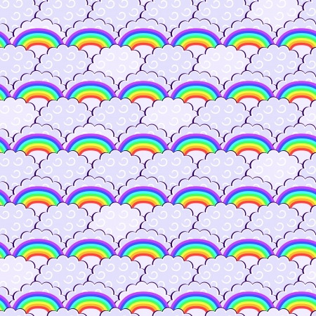 Colorful Rainbow and Purple Clouds Seamless Pattern. Vector Doodle Illustration Stock Vector - 20059874