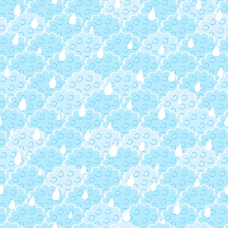 humid: Seamless Light Blue Fluffy Cloud with Rain Drops Pattern. Vector Illustration