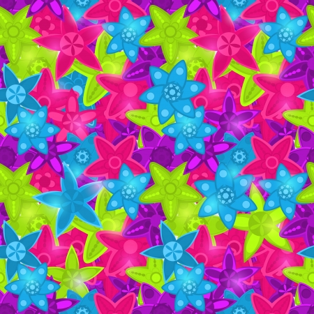 Seamless Floral Pattern in Acid Colors - Green Pink Blue Stock Vector - 20060038