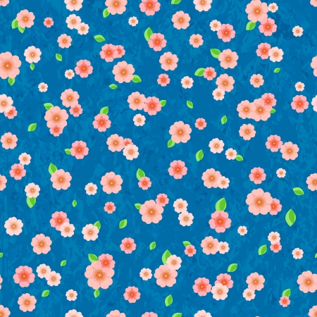 Seamless Pattern with Pink Flowers on Bright Blue Background. Vector Floral Illustration Vector