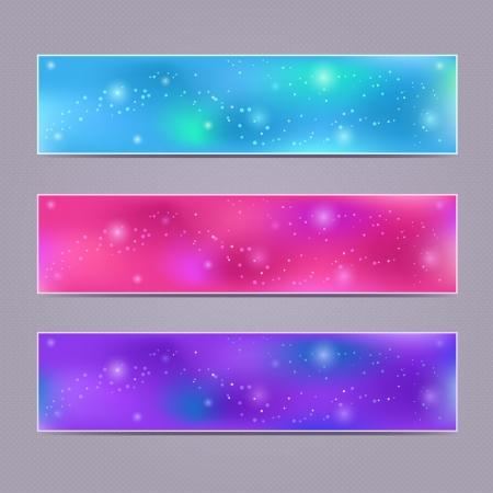 flecks: Set of Purple Blue Glowing Vector Banners