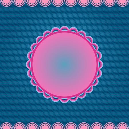 데님 파란색 배경에 핑크 라운드 레이블. 벡터 카드.