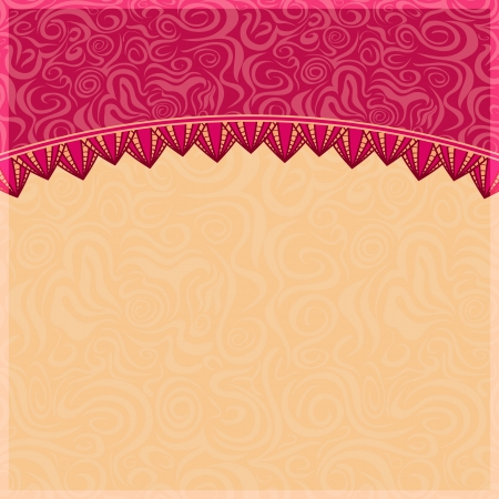 Abstract Swirl Background with Petal Ornament. Pink Vector Invitation Card Vector