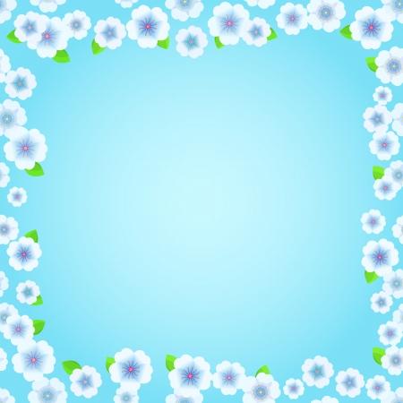 Blue Floral Frame. Blossom Flowers on Light Blue Background. Vector Illustration