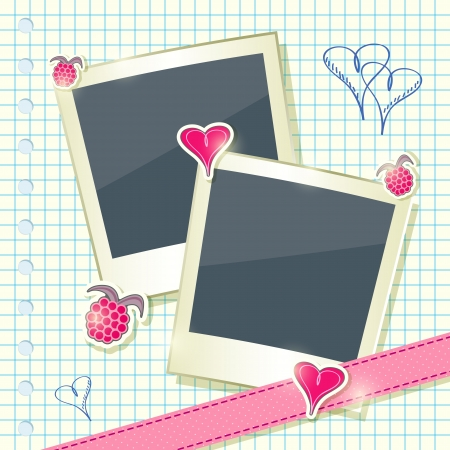 Card with Two Cute Photo Frames with Scrapbook Elements - Heart and Raspberry Tags on Paper Sheet Stock Vector - 20059944