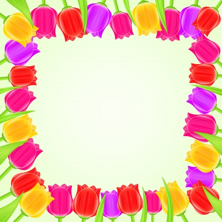 Bright Colorful Tulip Square Frame. Vector Floral Card Vector