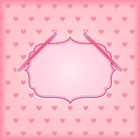 Pink Holiday Card With Place for Text On Heart Background. Vector