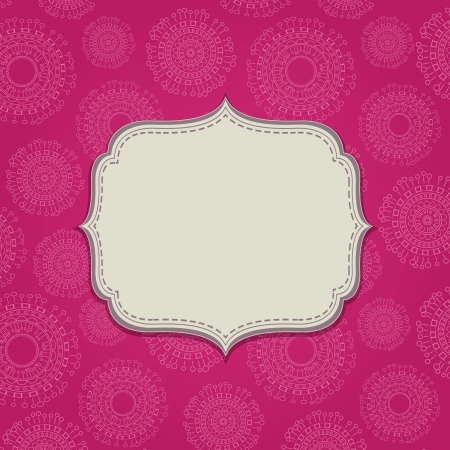 east indian: Pink Invitation Card with Blank Label and Abstract Circle Pattern. Space for Text