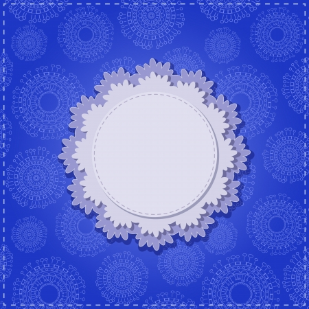 Blue Square Card with Round White Vignette. Vector Illustration Vector