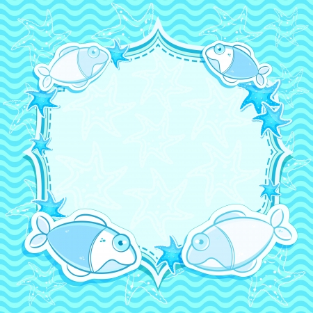 Blue Nautical  Invitation Card with Fishes and  Starfishes. Cartoon Background Stock Vector - 20059991