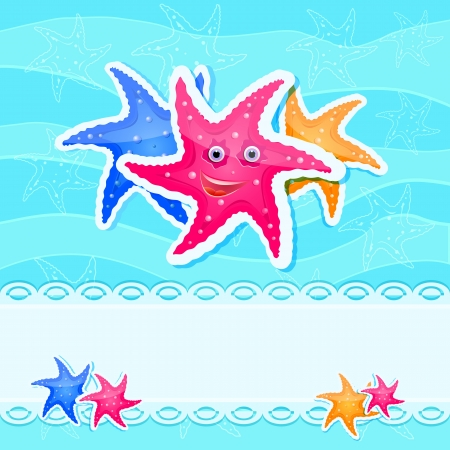 Colorful Starfishes at Blue Sea Background Card with place for Text