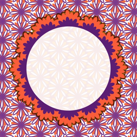 Purple Invitation Card with Round Vignette on Flower Pattern Vector
