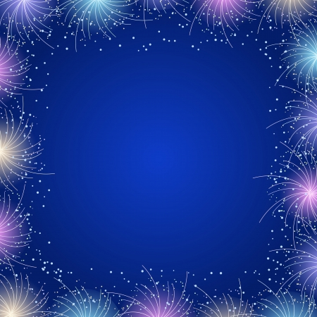 Blue Bright Frame Vector Illustration. Sparkles and Flares Decoration Vector