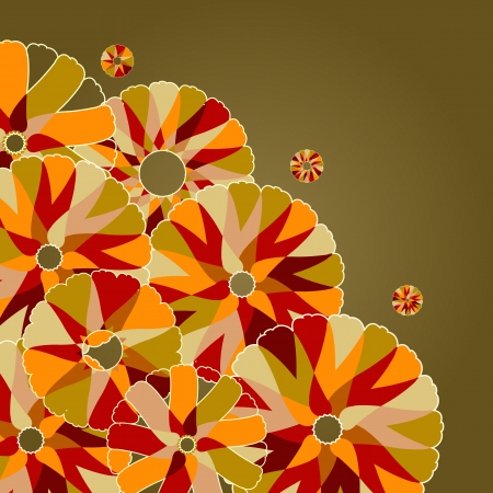 Abstract Background with Flowers of Warm colors. Vector Illustration Vector