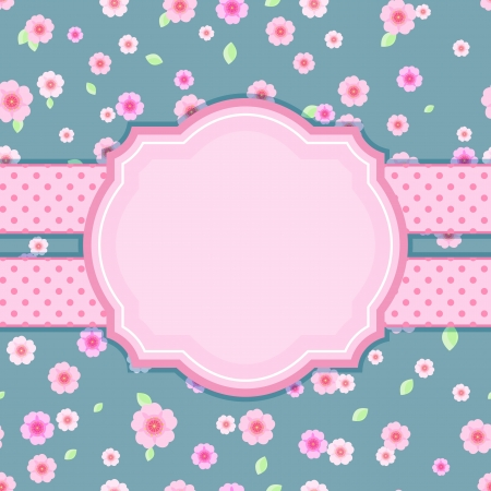 Floral Stylish Vintage Card on Blue Background. Vector Illustration Vector