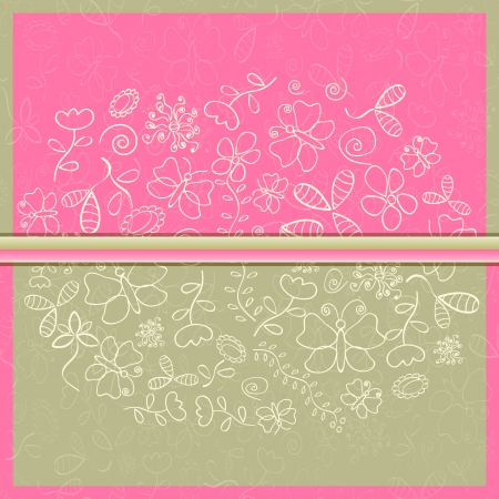 Greeting Card with Flower and Butterfly Silhouettes. Vector Illustration Vector