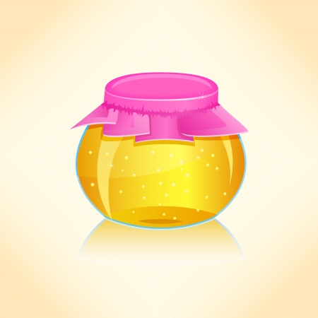 Bright Honey Glass Jar. Vector Illustration Vector