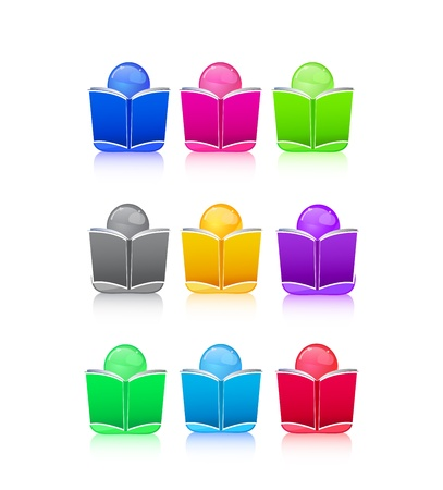 Set of Icon People with Colorful Book Sign. Vector Illustration