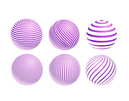 스트라이프 보라색 공 아이콘 집합 흰색 배경에 고립