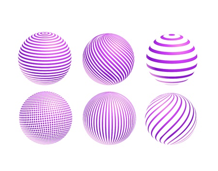 striped violet ball icon set isolated on white background Vector