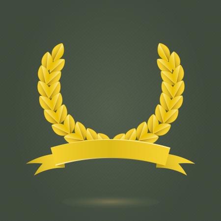 Golden Laurel Wreath on Dark Gray Background. Sports Achievement Concept Vector Illustration
