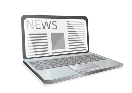 news paper on laptop screen isolated on white background Stock Vector - 20059762