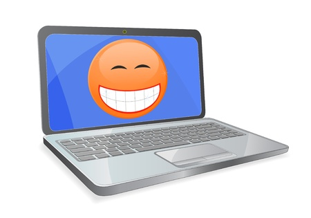 ibook: laptop and smile on screen isolated on white background