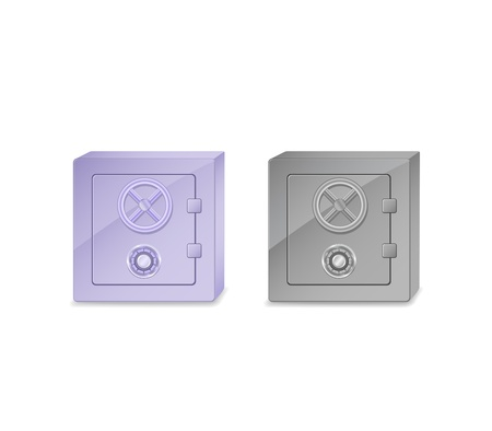 safer: blue and grey safe box icon set isolated on white background