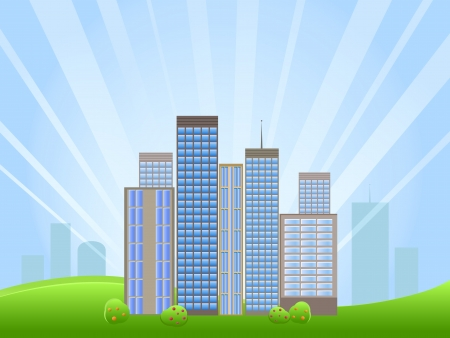 Panorama of Downtown with Skyscrapers And Green Meadow on Horizon. Vector Illustration Stock Vector - 20059781