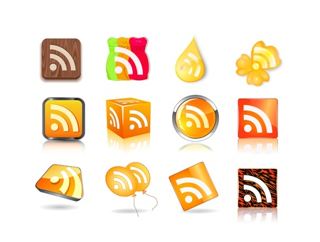 different style of rss icon set isolated on white background Stock Vector - 20059990
