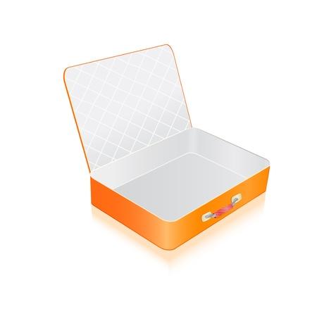 packing suitcase: Vuoto aperto valigia arancione isolato su sfondo bianco. Illustrazione vettoriale