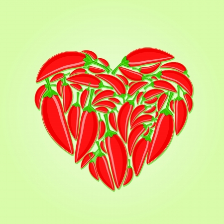 Red Hot Peppers in Shape of Heart on Green Background, Vector