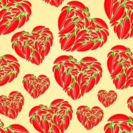 Red Hot Peppers in Shape of Heart on Yellow Background. Vector Seamless Pattern Vector