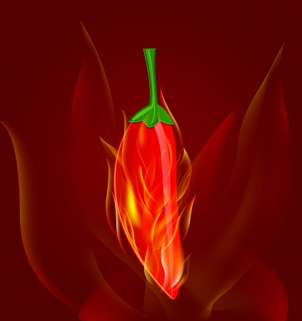 sizzling: red chili pepper in fire on dark red background