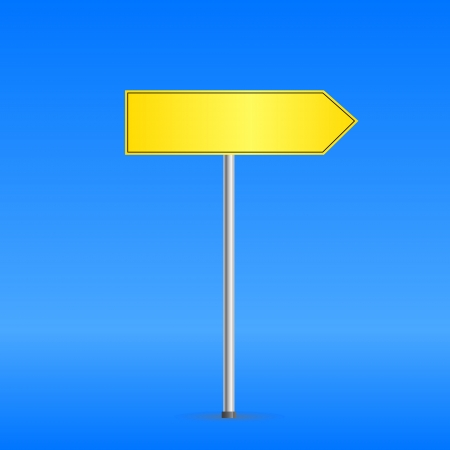 blank road sign: Yellow road sign on blue background. Vector Illustration