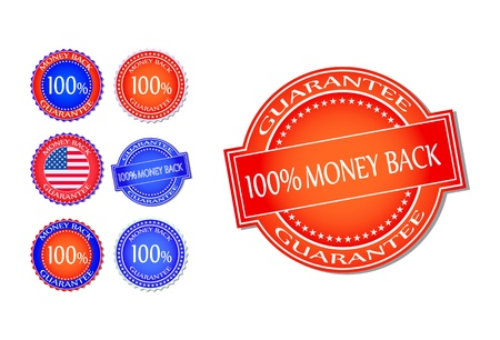 Red Blue Money Back Guarantee Seal Set. Vector Illustration Isolated On White Background Vector