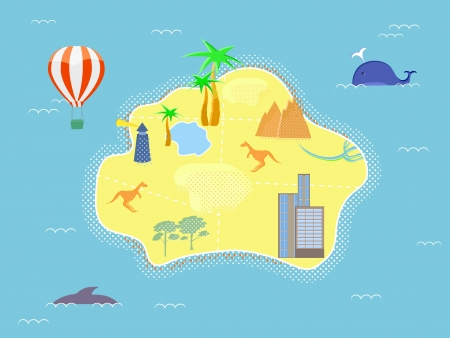 Retro Style Cartoon Island Map Vector