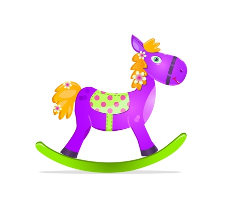 rocking horse: violet rocking horse toy icon isolated on whute background