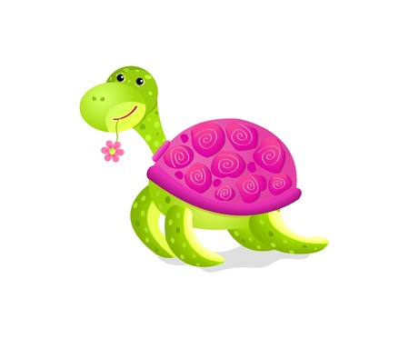 cute turtle toy isolated on white background Vector