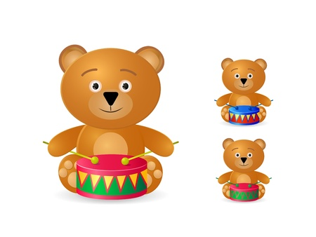 teddy bear with drum icon set isolated on white background Stock Vector - 20069395