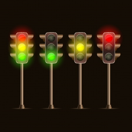 Shiny Traffic Light Icon Set. Vector Illustration Vector