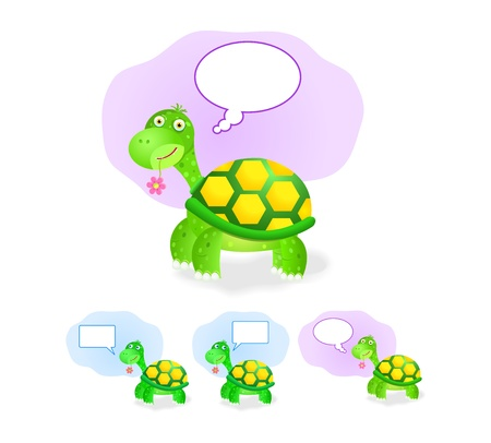 thinking turtle icon set with chat box isolated on white background Vector