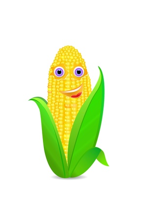 cob: corn with eyes and smile icon isolated on white Illustration