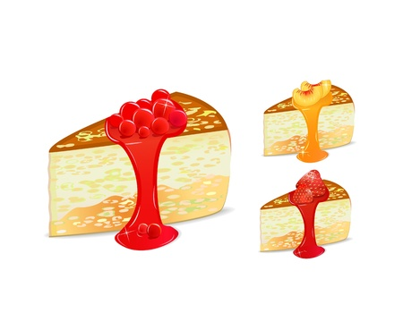 cake set with strawberry and peach Vector