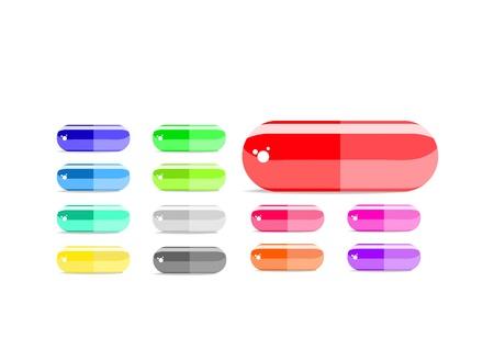 penicillin: colorful capsule icon set isolated on white background Illustration