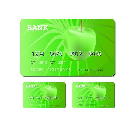 흰색 배경에 고립 된 신용 카드 또는 직불 녹색 카드 일러스트