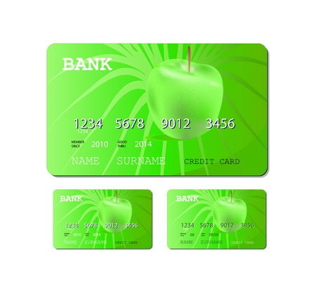 credit or debit green card isolated on white background Vector